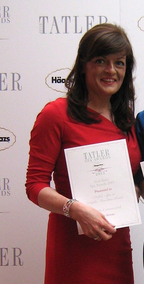 Therapist, Rose Dennigan, receiving the Tatler Spa Award in 2012 - now providing Holistic Treatments in The Wyatt Hotel, Westport, County Mayo, Ireland